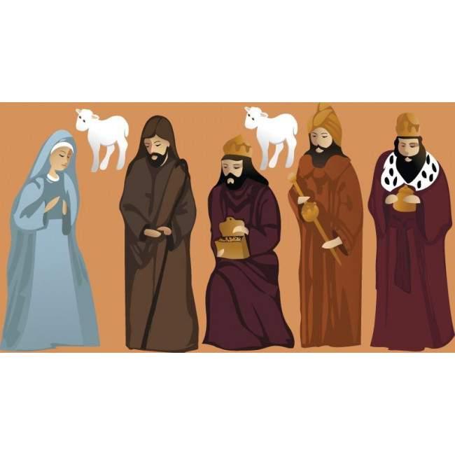 Η Μαρία  ο Ιωσήφ και οι τρεις μάγοι , αυτοκόλλητες φιγούρες για φάτνη