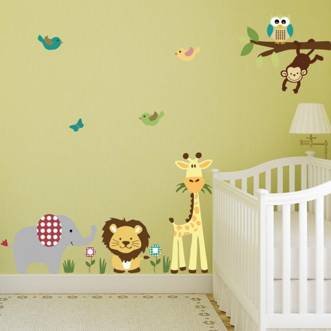 Wall stickers jungle animals and monkey on a branch, Cute Africa medium