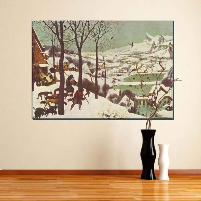 Πίνακας ζωγραφικής Hunters in the snow, Bruegel Pieter, αντίγραφο σε καμβά