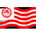 Σημαία του Ολυμπιακού, αυτοκόλλητο τοίχου, κοντινό