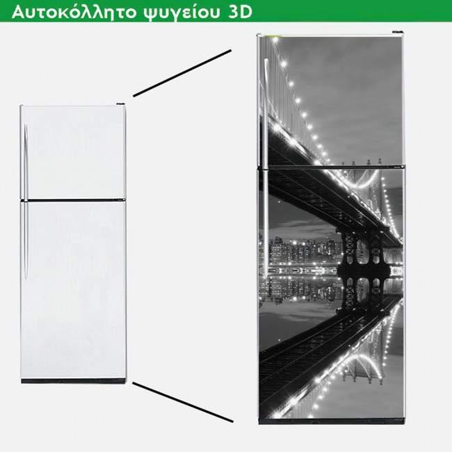 Αυτοκόλλητο ψυγείου Γέφυρα του Μανχάτταν,Grayscale