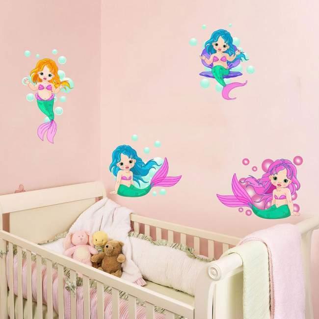Αυτοκόλλητα τοίχου παιδικά Γοργόνες μωρά