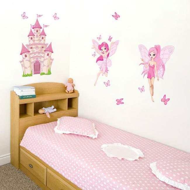 Αυτοκόλλητα τοίχου παιδικά Νεράιδες, πεταλούδες και κάστρο