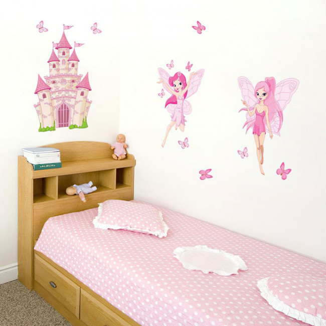 Kids wall stickers Fairies, butterflies and castle