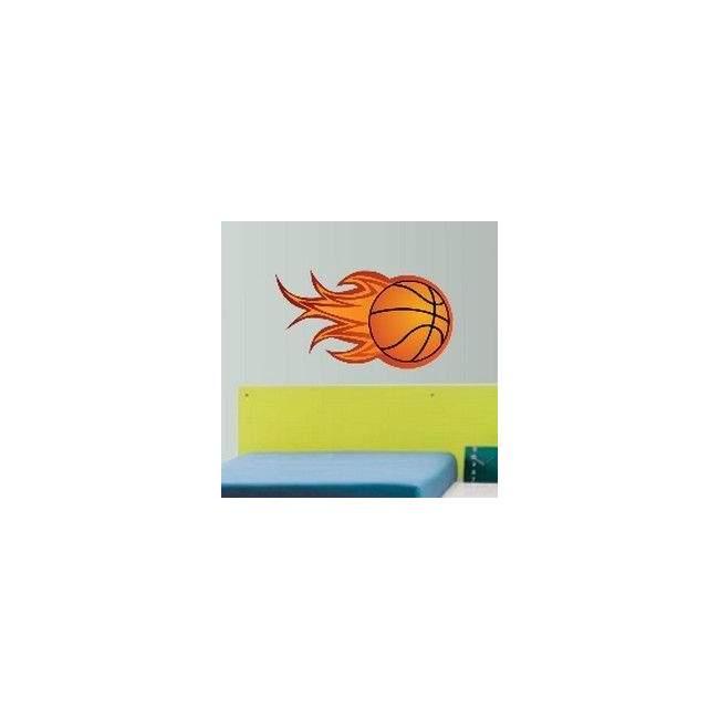 Αυτοκόλλητο τοίχου Φλεγόμενη Μπάλα Μπάσκετ