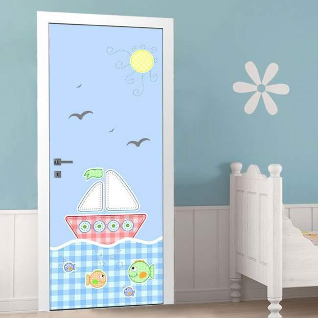 Αυτοκόλλητο πόρτας Ένα μικρό καράβι, παιδικό