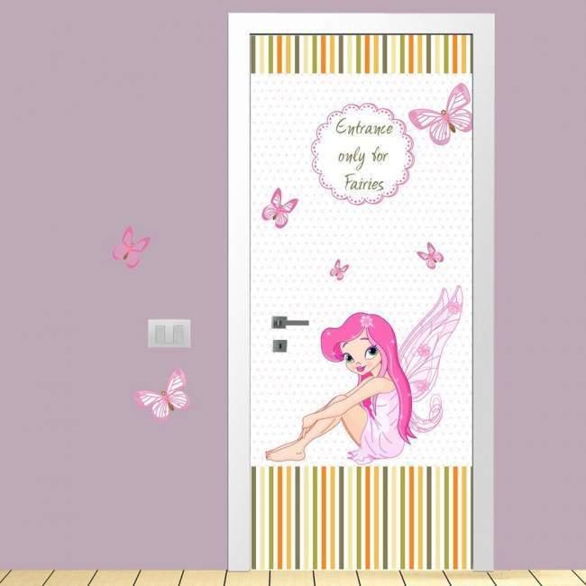 Αυτοκόλλητο πόρτας Fairies only, παιδικό