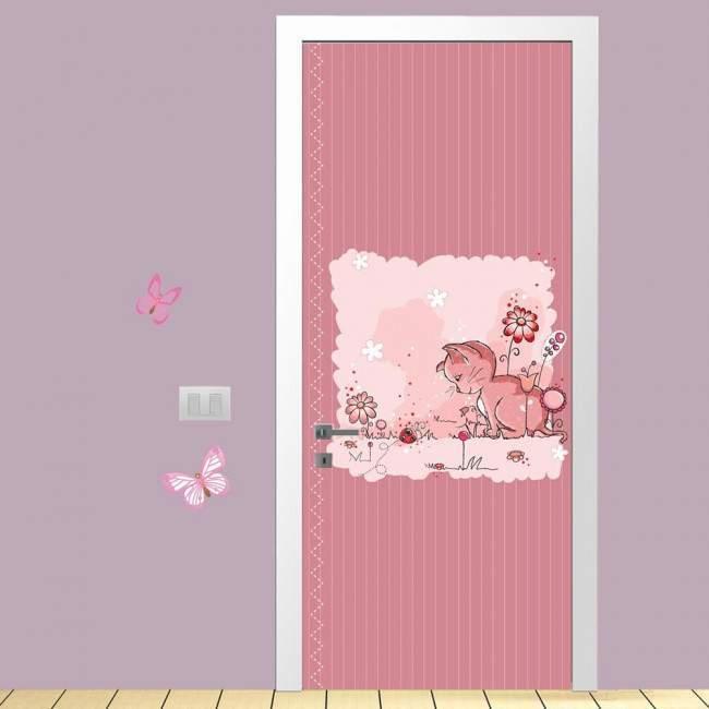 Αυτοκόλλητο πόρτας Kitty and ladybug, παιδικό
