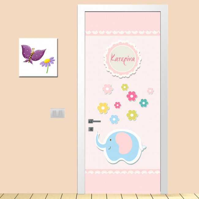 Αυτοκόλλητο πόρτας Vintage pink, παιδικό