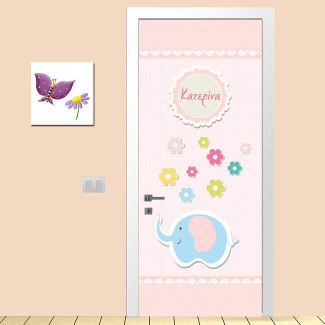 Door sticker Vintage pink, for kids
