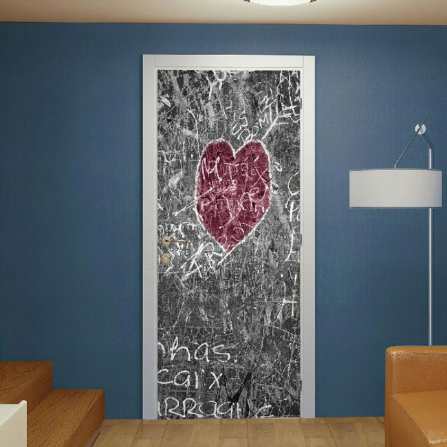 Αυτοκόλλητο πόρτας Heart chalkboard