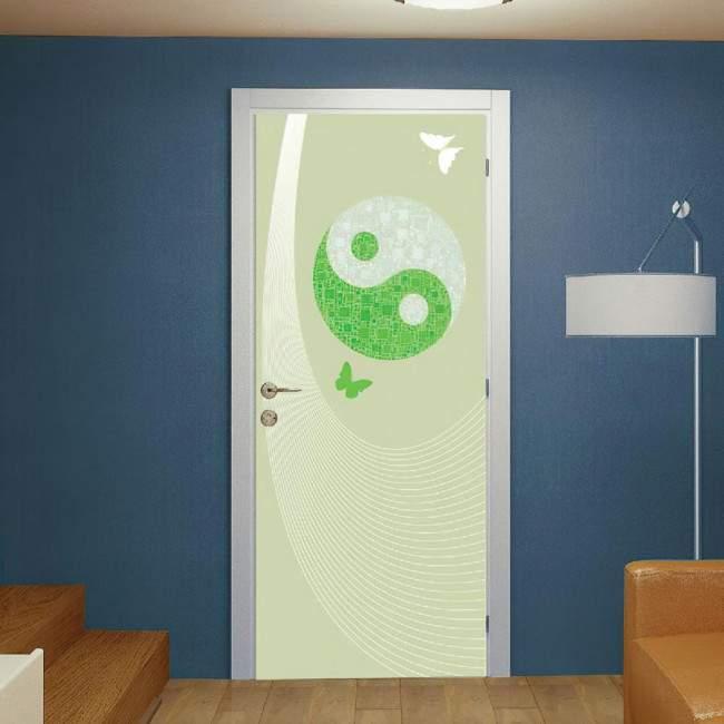 Door sticker YinYang green harmony