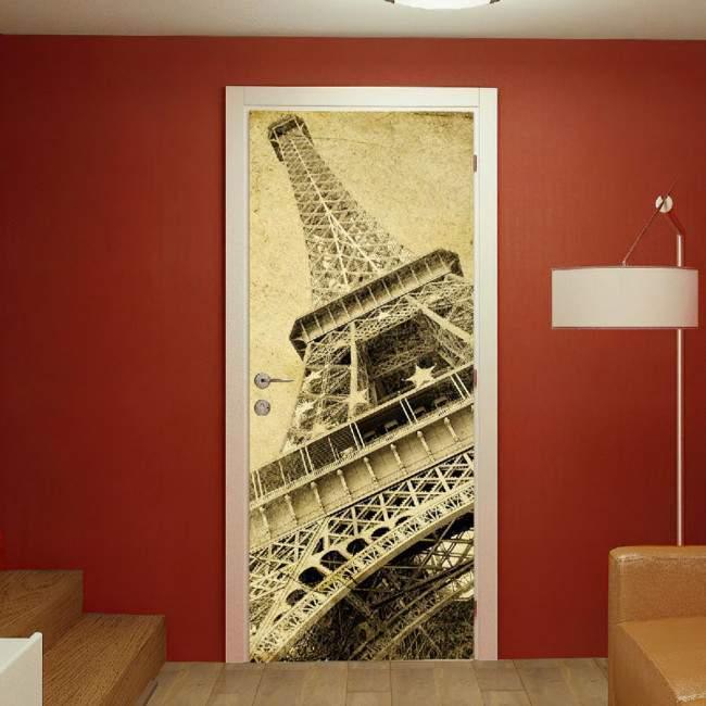 Αυτοκόλλητο πόρτας Eiffel tower vintage