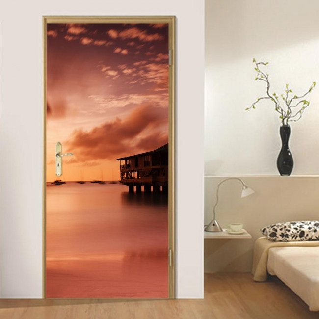 Αυτοκόλλητο πόρτας Exotic sunset