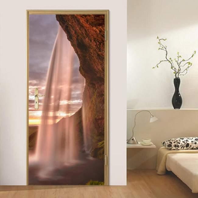Αυτοκόλλητο πόρτας Αmazing waterfalls