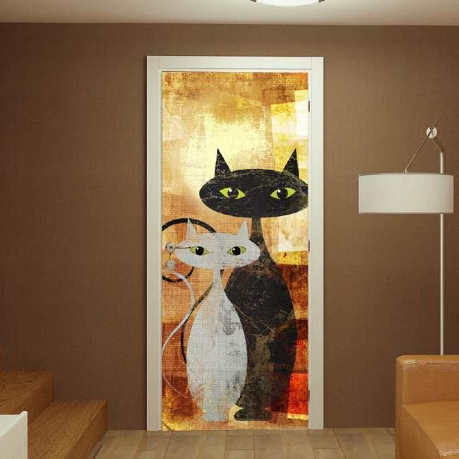 Αυτοκόλλητο πόρτας The cats