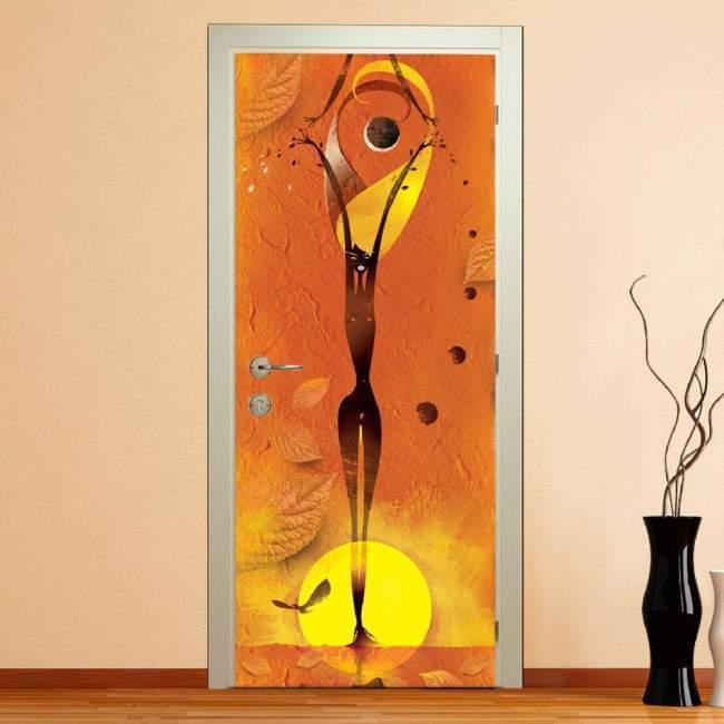 Αυτοκόλλητο πόρτας Abstract girl orange