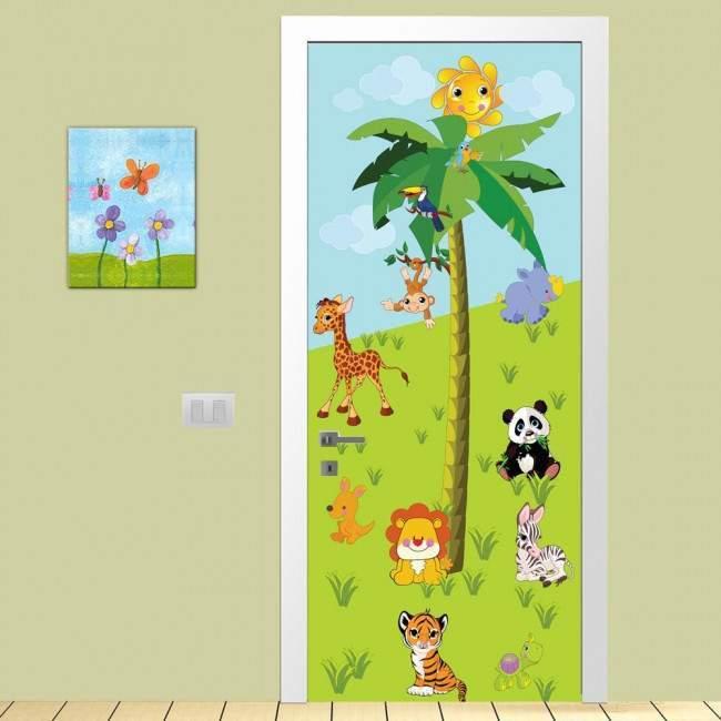 Αυτοκόλλητο πόρτας Ζωάκια της ξηράς, παιδικό