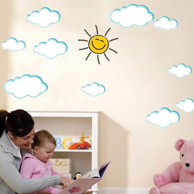 Αυτοκόλλητα τοίχου παιδικά Συννεφάκια και χαμογελαστός ήλιος