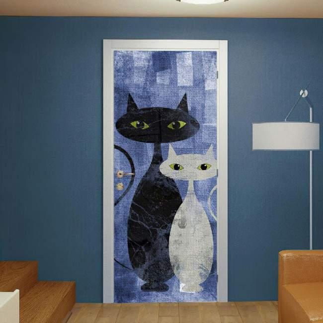 Αυτοκόλλητο πόρτας The cats blue