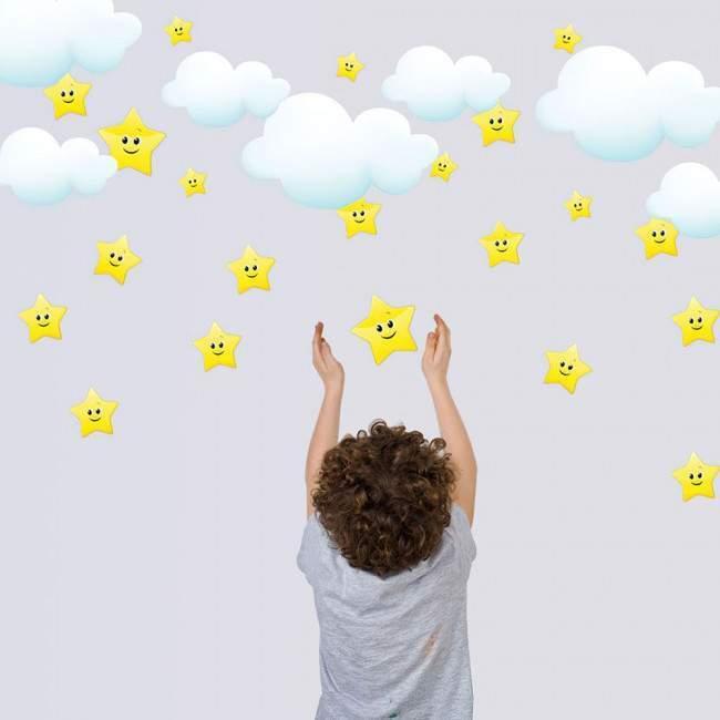 Αυτοκόλλητα τοίχου παιδικά αστέρια χαμογελαστά και συννεφάκια