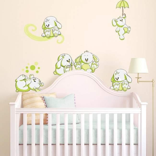 Αυτοκόλλητα τοίχου παιδικά Κουνελάκια παντού apple green