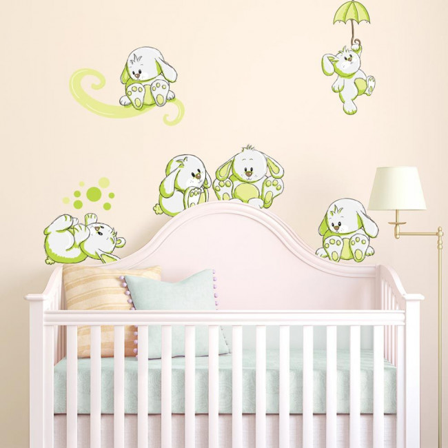 Kids wall stickers Rabbits everywhere apple green