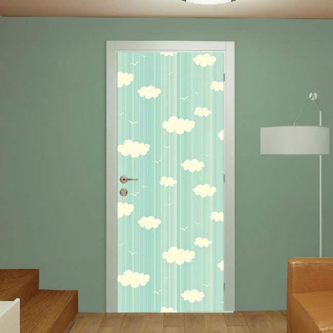 Αυτοκόλλητο πόρτας Clouds and Birds pale green