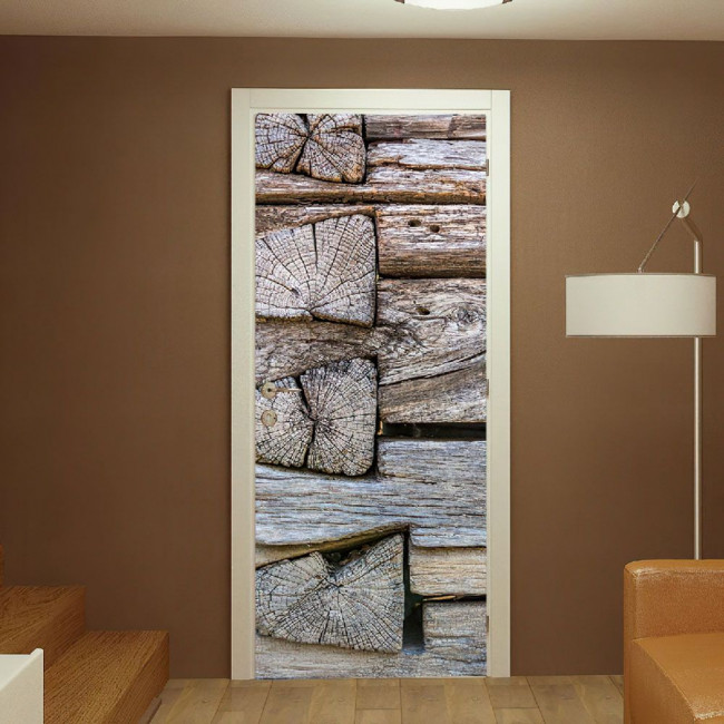 Αυτοκόλλητο πόρτας Wood planks