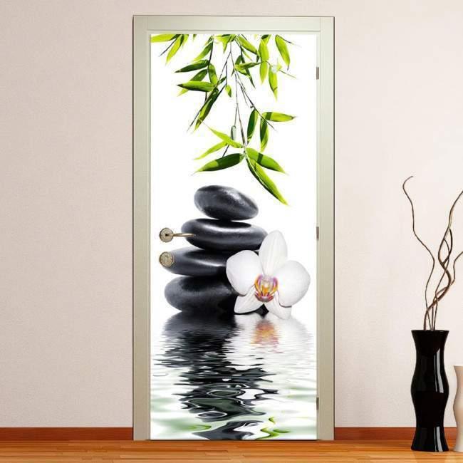 Αυτοκόλλητο πόρτας White orchid  and bamboo