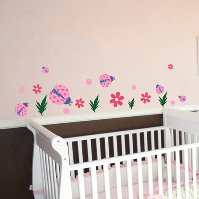 Kids wall stickers Lady bugs and flowers