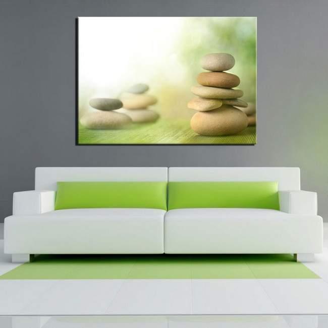 Πίνακας σε καμβά Stone piles green