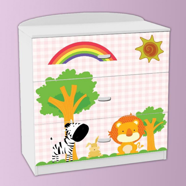 Drawer sticker Zebra and lion pink