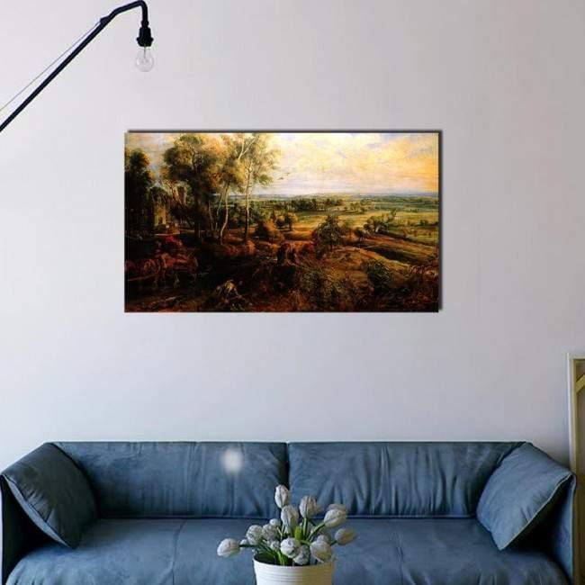 Πίνακας ζωγραφικής Autumn landscape with Het Steen, Rubens Peter Paul, αντίγραφο σε καμβά