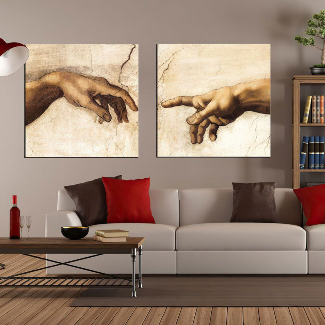 Canvas print The creation of Adam, Michelangelo, two panels panoramic
