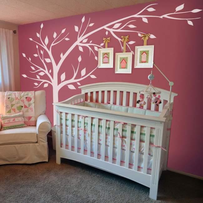 Αυτοκόλλητα τοίχου παιδικά πολύ μεγάλο λευκό δέντρο, Elegant tree XL
