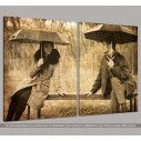 Canvas print Flirting @ bench, two panels, side