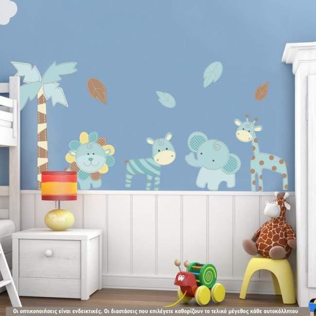 Αυτοκόλλητα τοίχου παιδικά μπλε ζωάκια ζούγκλας , δέντρο και φύλλα, Baby safari (blue)