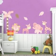 Αυτοκόλλητα τοίχου παιδικά ροζ ζωάκια ζούγκλας , δέντρο και φύλλα, Baby safari (pink)