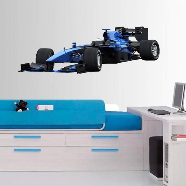 Αυτοκόλλητο τοίχου Αγωνιστικό αυτοκίνητο, Μπλε, F1 Formula One Αγωνιστικό αυτοκίνητο, Μπλε