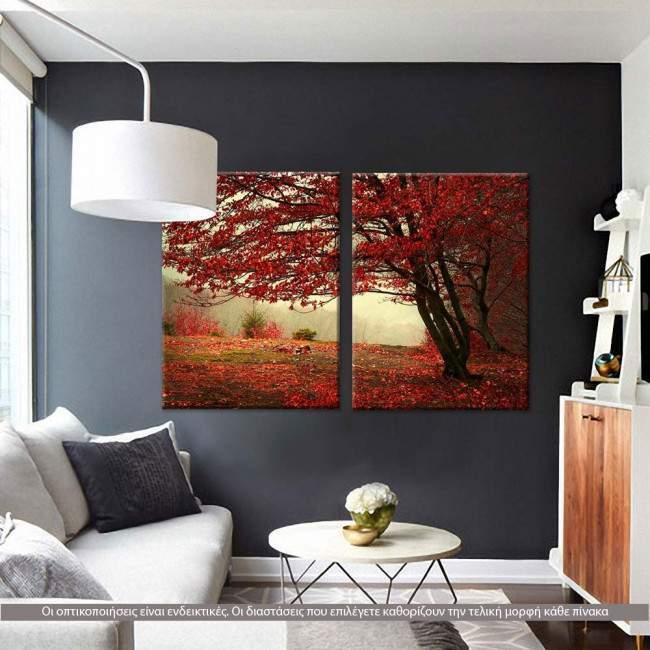 Πίνακας σε καμβά Red forest, δίπτυχος