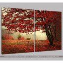 Red forest, δίπτυχος  πίνακας σε καμβά, κοντινό