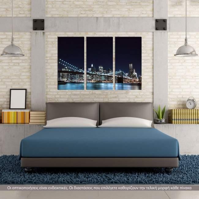 Πίνακας σε καμβά Brooklyn bridge dark blue, τρίπτυχος