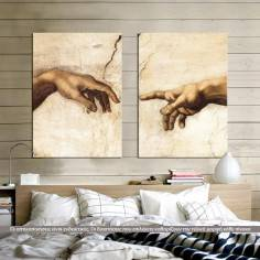 Canvas print The creation of Adam, Michelangelo, two panels