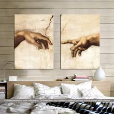Πίνακας σε καμβά The creation of Adam, Michelangelo, δίπτυχος