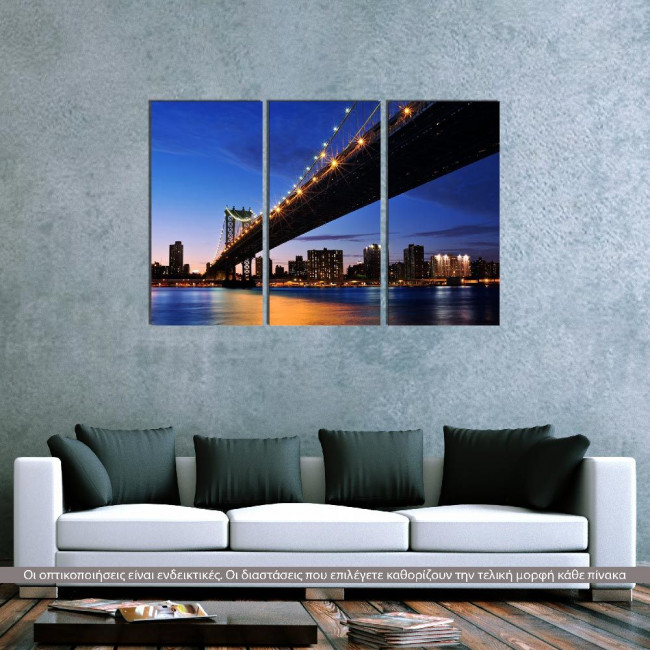 Canvas print Manhattan bridge,  3 panels