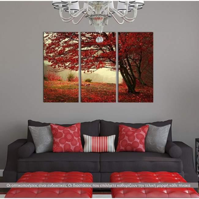 Πίνακας σε καμβά Red forest, τρίπτυχος