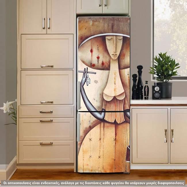 Αυτοκόλλητο ψυγείου Lady, art deco