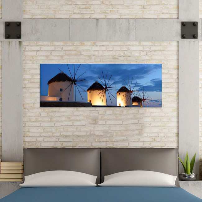 Canvas print Windmills, panoramic