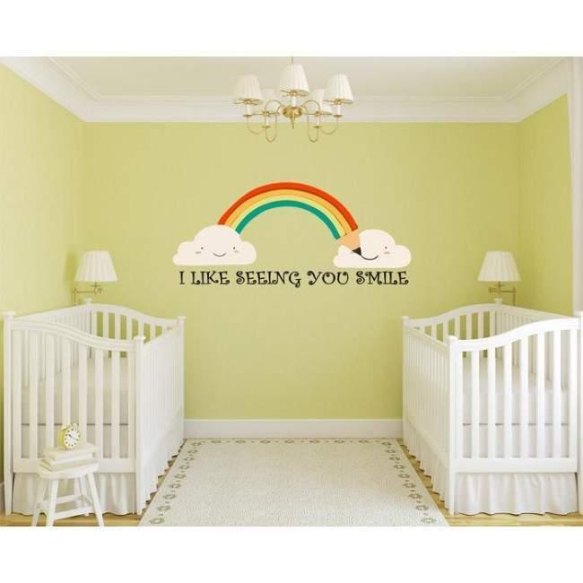 Αυτοκόλλητα τοίχου παιδικά σύννεφα, ουράνιο τόξο, Seeing you Smile